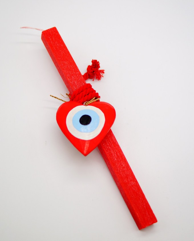 Easter Candle Wooden Heart Evil Eye Red