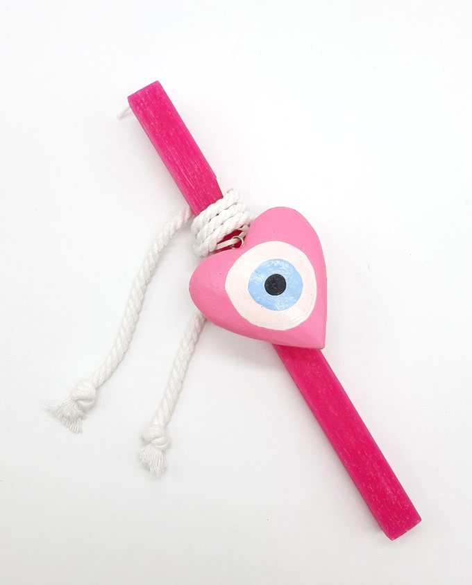 Easter candle pink evil eye heart