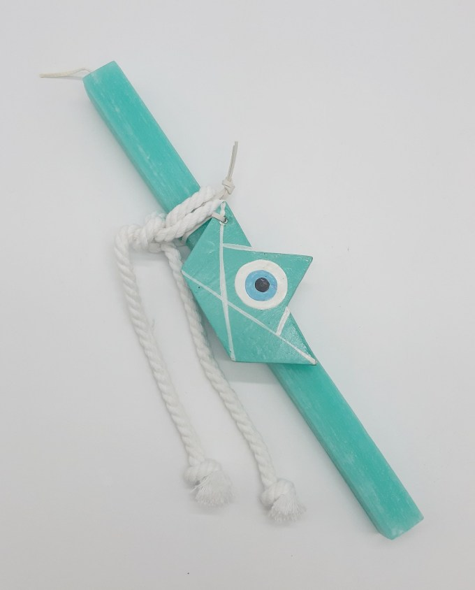 Easter Candle Wooden Turquoise Boat Evil Eye