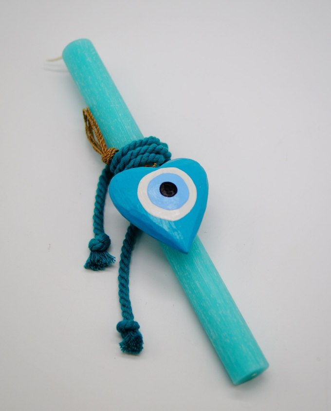 Easter Candle Wooden Heart Evil Eye