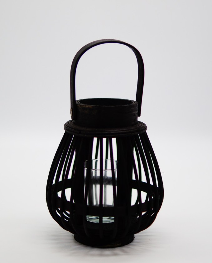 Lantern made of black color bamboo with tealight glass included.