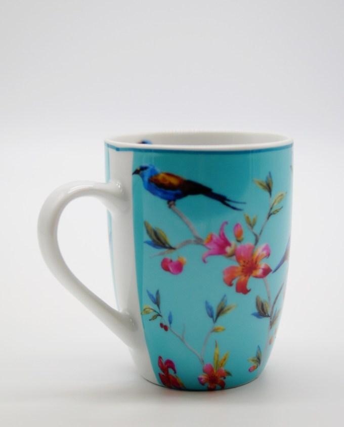 Mug Porcelain Turquoise with Flowers