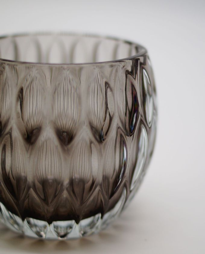 Votive of heavy tealight grey glass
