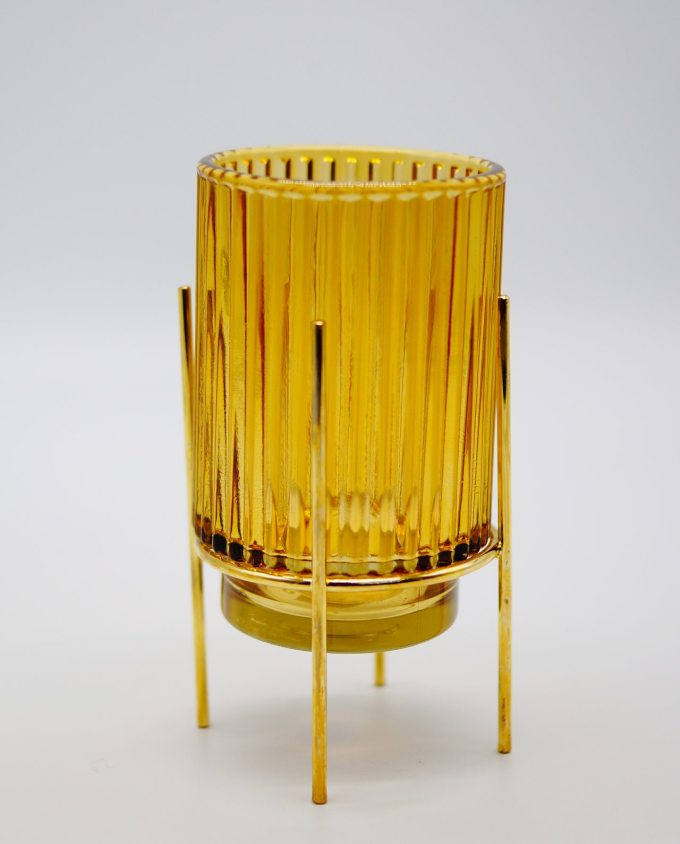 Tealight Yellow Glass on Metal Stand