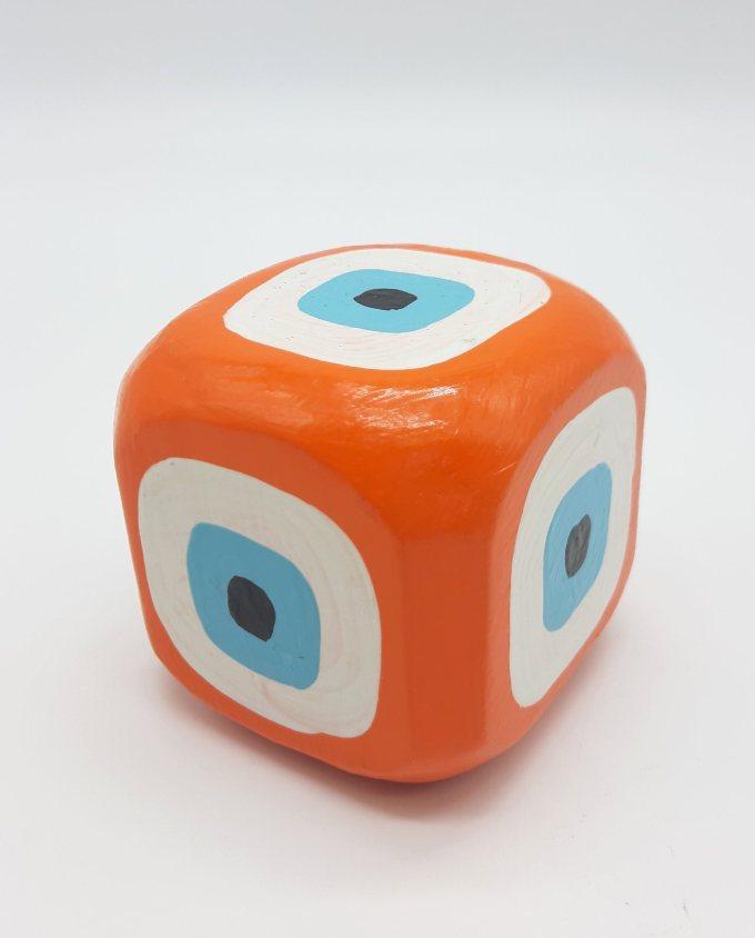 Cube Evil Eye Wooden Handmade 8.5 cm x 8.5 cm x 8.5 cm color orange