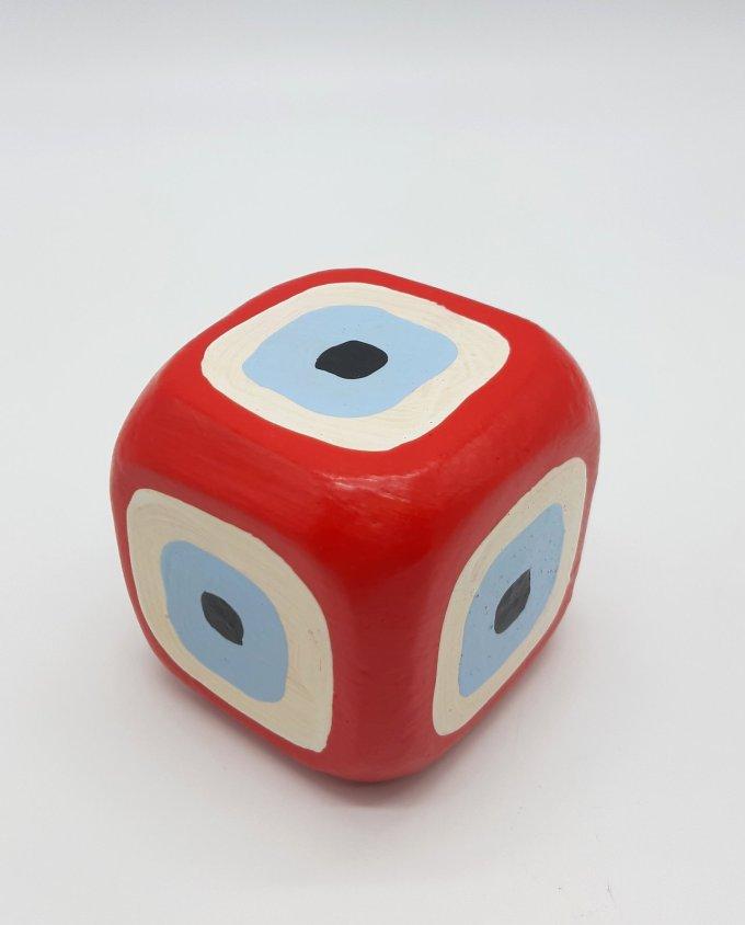 Cube Evil Eye Wooden Handmade 8.5 cm x 8.5 cm x 8.5 cm color red