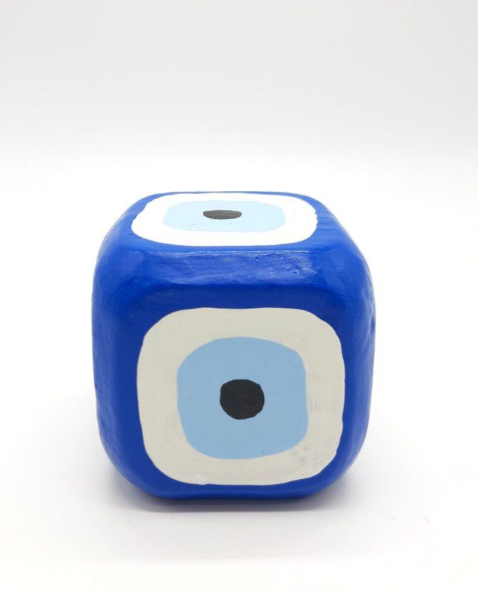 Cube Evil Eye Wooden Handmade 8.5 cm x 8.5 cm x 8.5 cm color blue