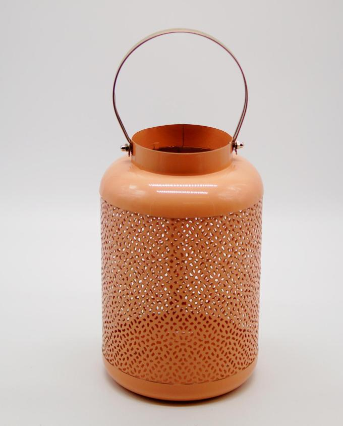 Lantern made of metal in salmon color height 24 cm, diameter 15 cm