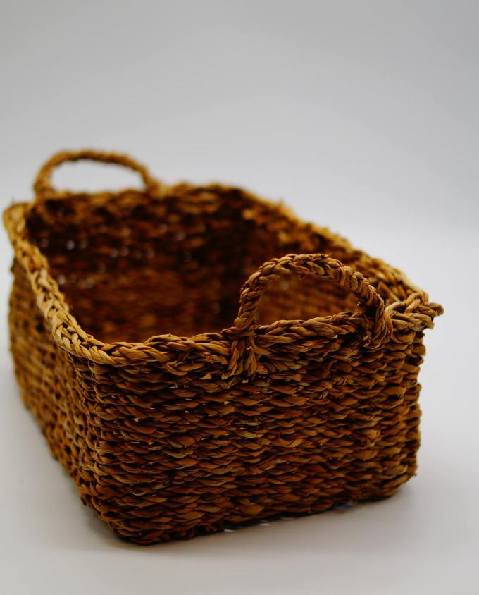 Rectangle basket made of seagrass, Dimension: height 12 cm, 34 cm x 24 cm