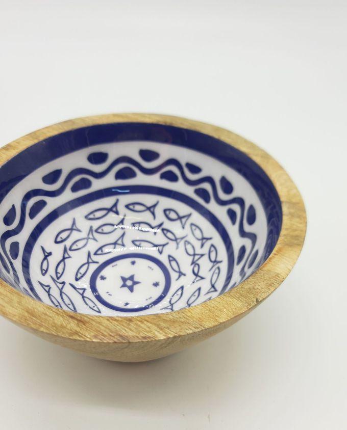 Μπωλ ξύλινο από ξύλο Mango ανοιχτόχρωμο καφέ με σχέδιο ψαριών εσωτερικά διαμέτρου 13 cm