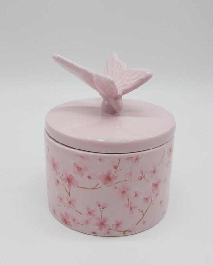Πορσελάνινη ροζ θήκη κοσμημάτων με καπάκι με πουλί. Διαστάσεις: ύψος 13 cm, διάμετρος 11 cm