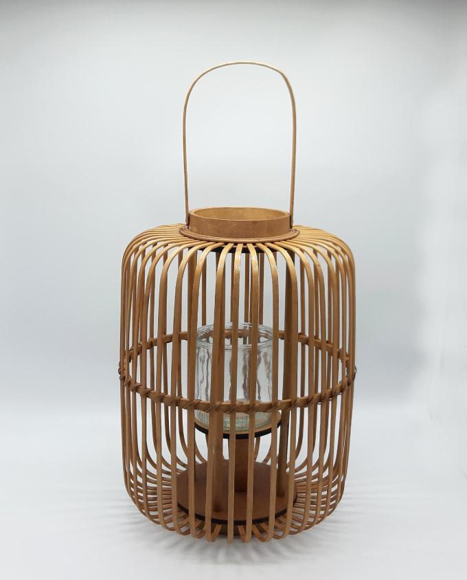Lantern made of beige color bamboo with glass included height 43 cm