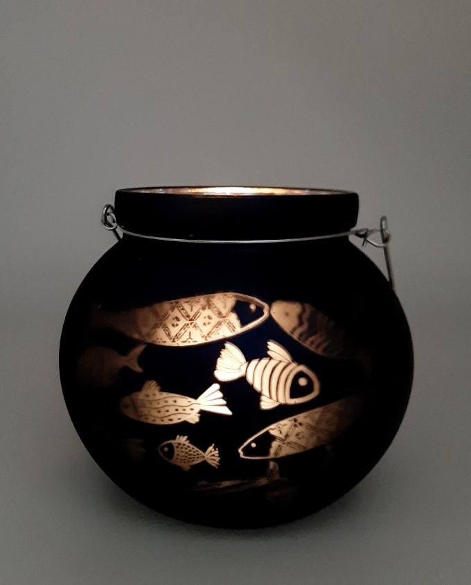 Roundblue navy lantern for votive with fish pattern