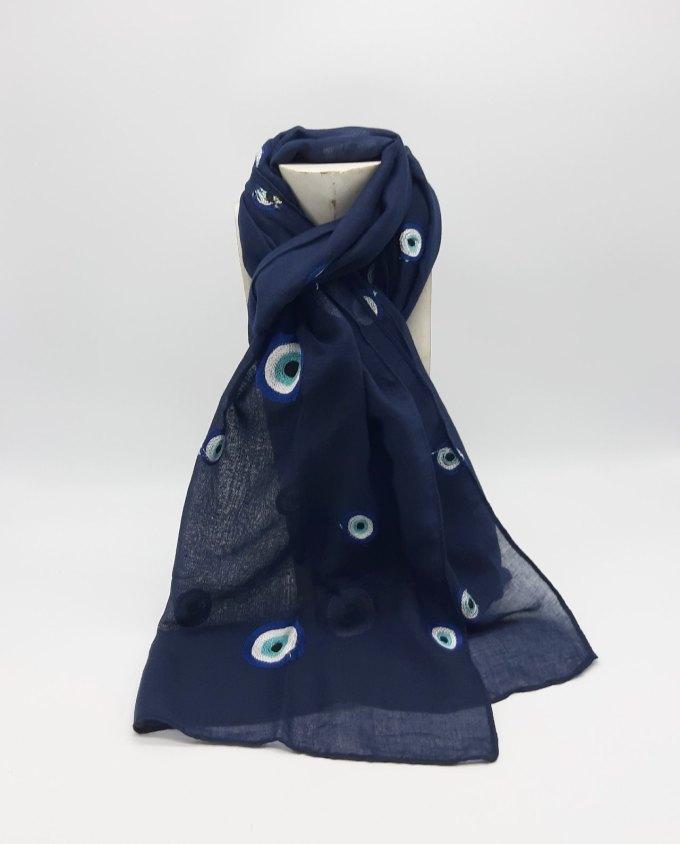 Φουλάρι cotton μπλε με κεντητά ματάκια