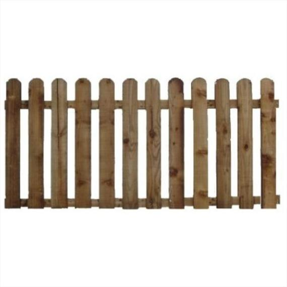 Round Top Picket Fence Panel - 6'x2'