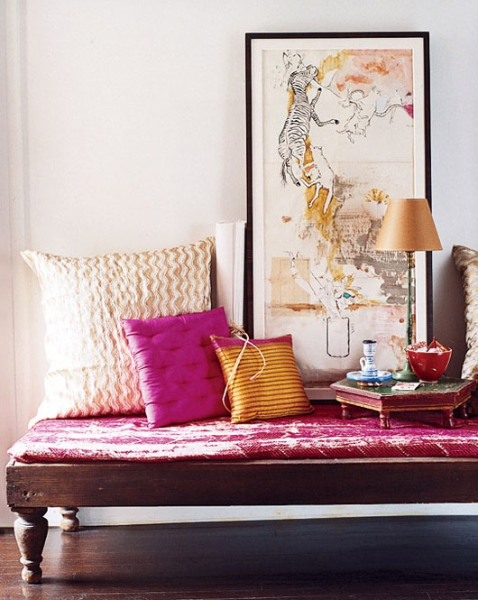 Home Design Wooden Bench with Pink Cushion and Pink and Orange and White Accent Pillows and Feng Shui Artwork