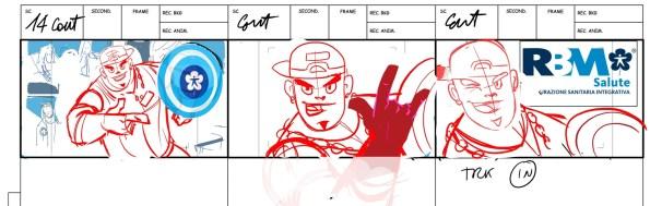 Storyboard dello SPOT per RBM SALUTE