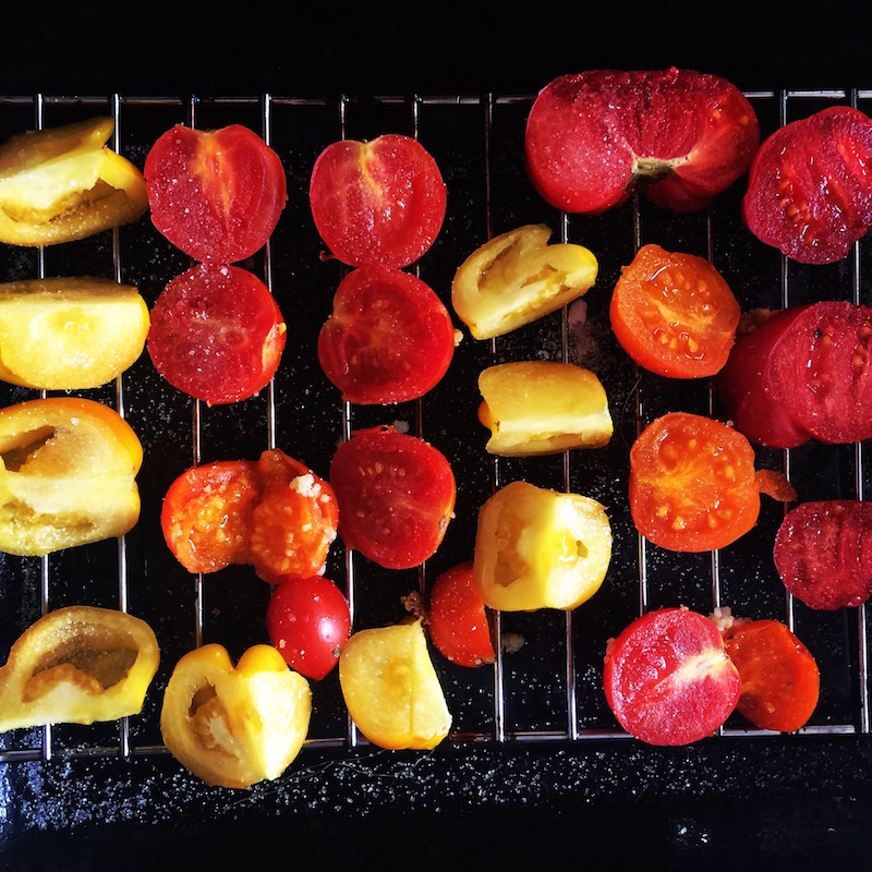 slow-roasting-tomatoes