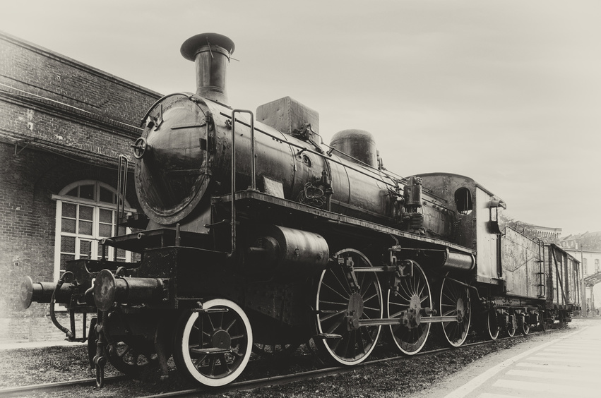 Italian steam locomotive in the station of Turin Ponte Mosca (Italy), repair workshop for old trains