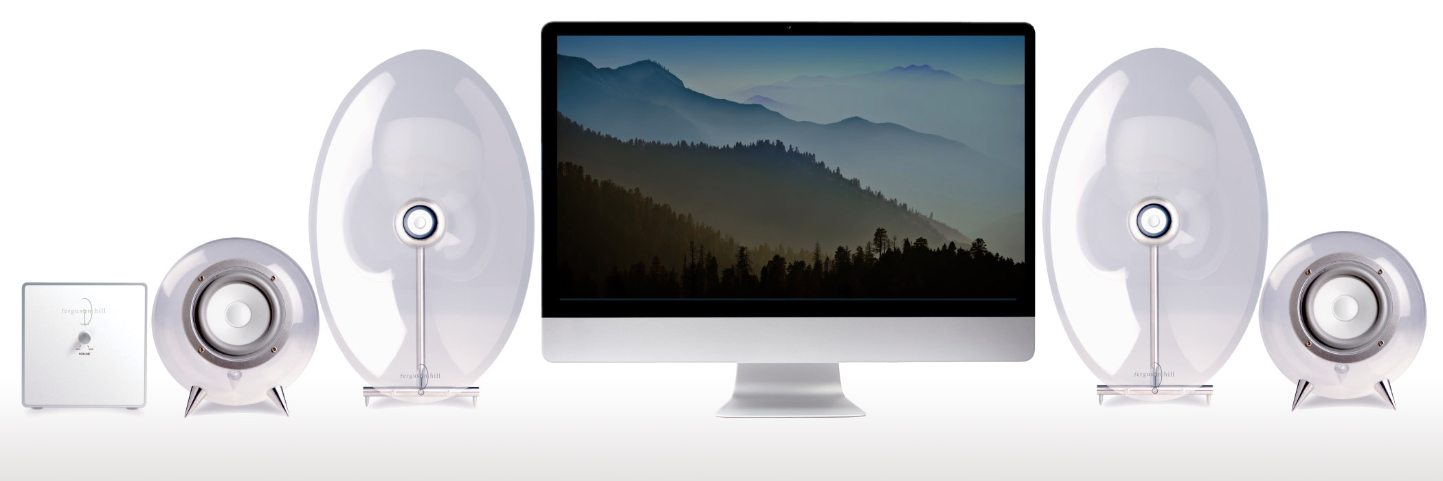 iMac and FHOO7 Mini Speaker System - Now with Bluetooth receiver.