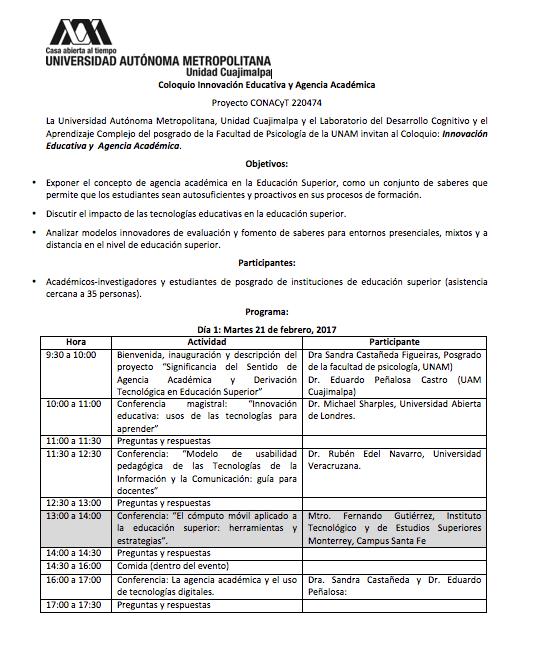 Programa de Innovación Educativa y Agencia Académica