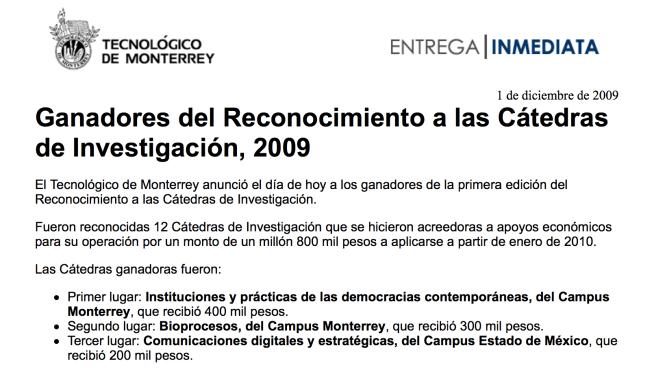 Anuncio ganadores del reconocimiento a las cátedras de investigación  del Tecnológico de Monterrey.