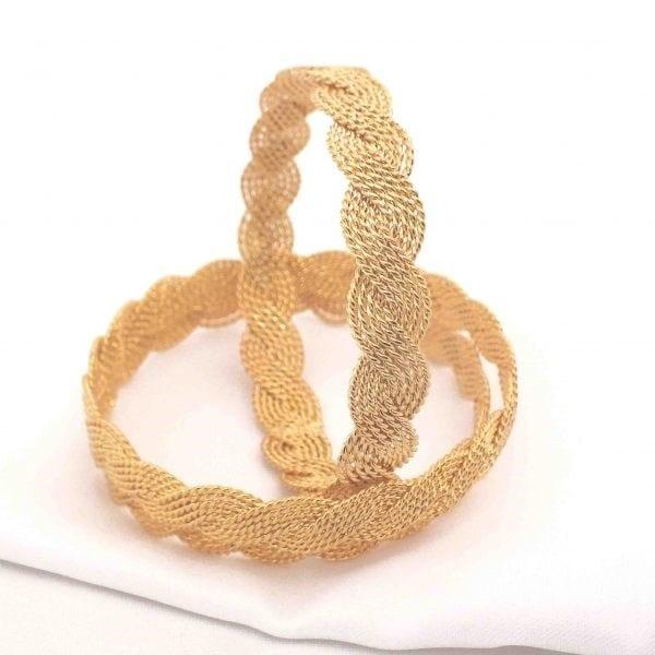Altın Kaplama Örgü Kadın Bilezik