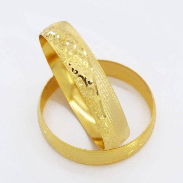 FerizZ Altın Kaplama İşlemeli Bilezik 15 mm Kalınlık