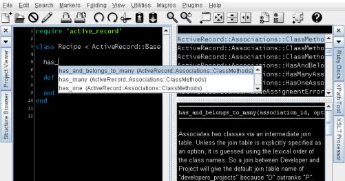 JEdit - Ruby on Rails