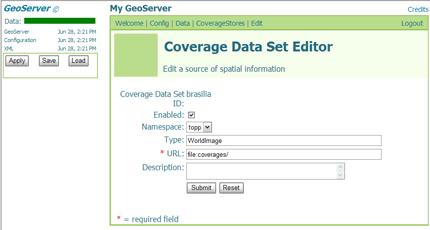 Tela de configuração do CoverageStore