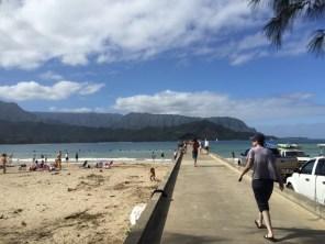 Kauai Hawaii - Hanalai - Steg am Surf Spot