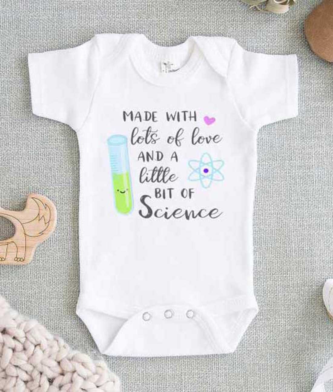 Download Made with Love and Little Bit Science Baby Onesie ...