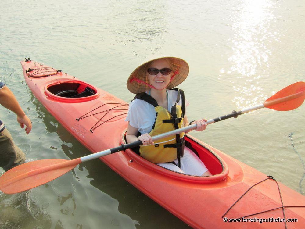 Kayaking in Halong Bay.