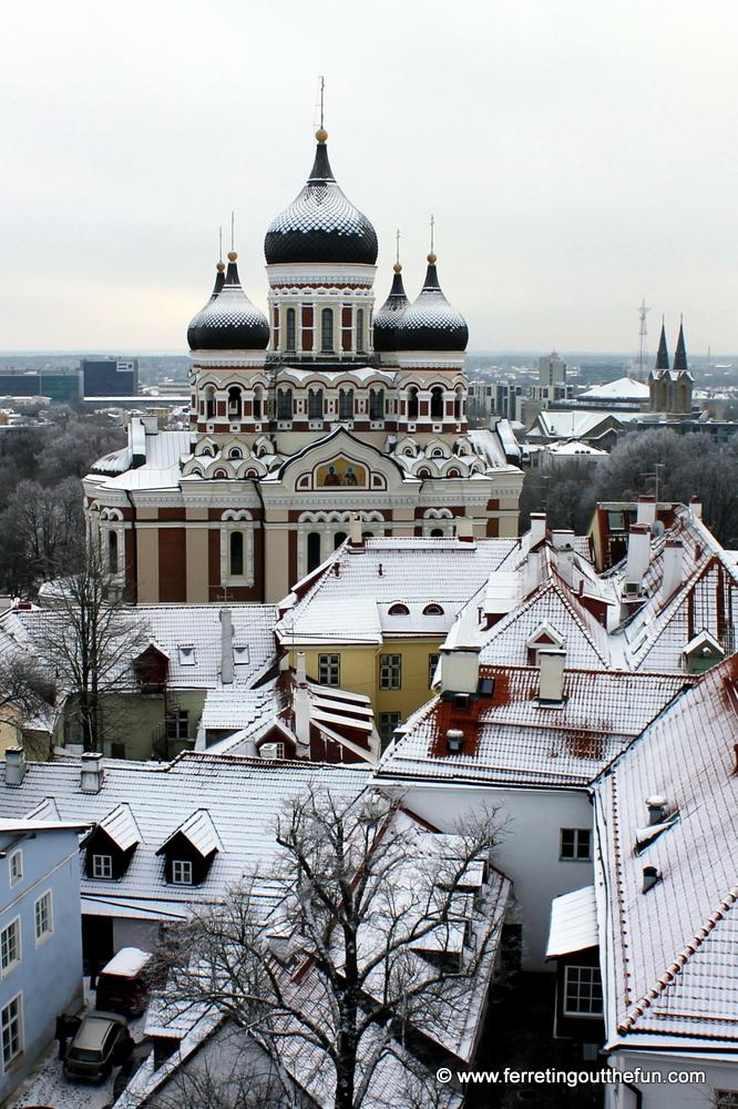 Snow covered rooftops in Tallinn, Estonia