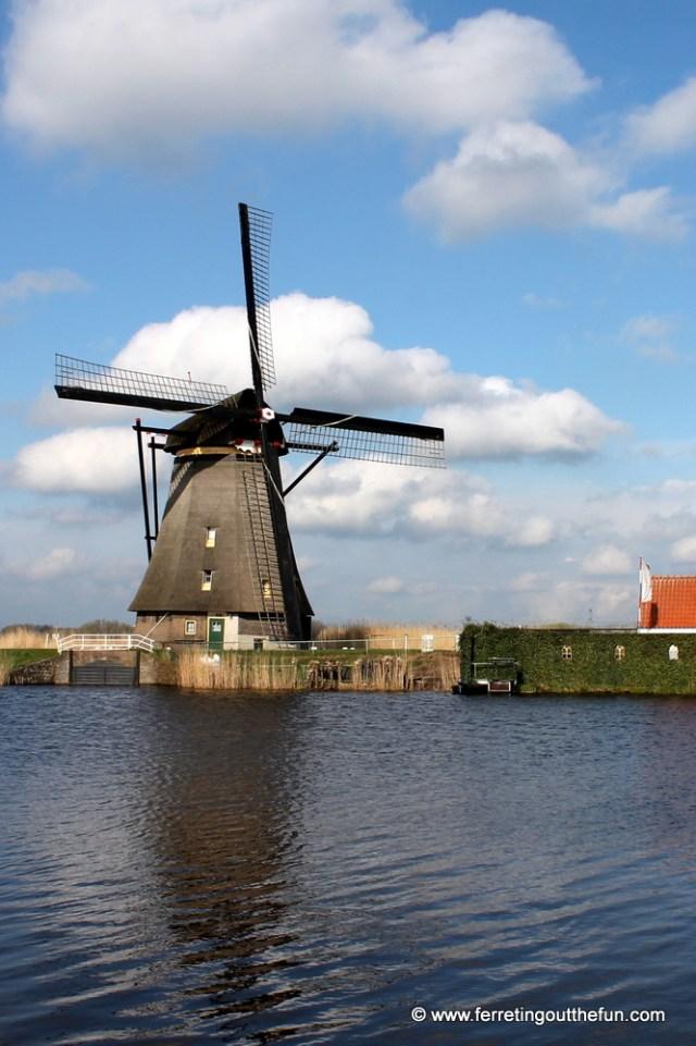 A windmill in Kinderdijk, Netherlands