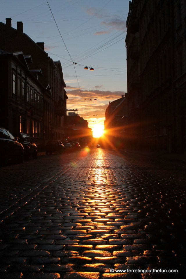 Setting of the midnight sun in Riga, Latvia