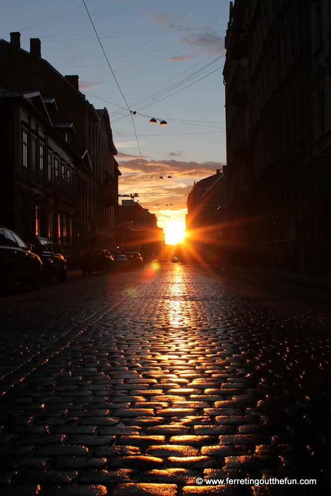 Setting of the midnight sun in Riga, Latvia