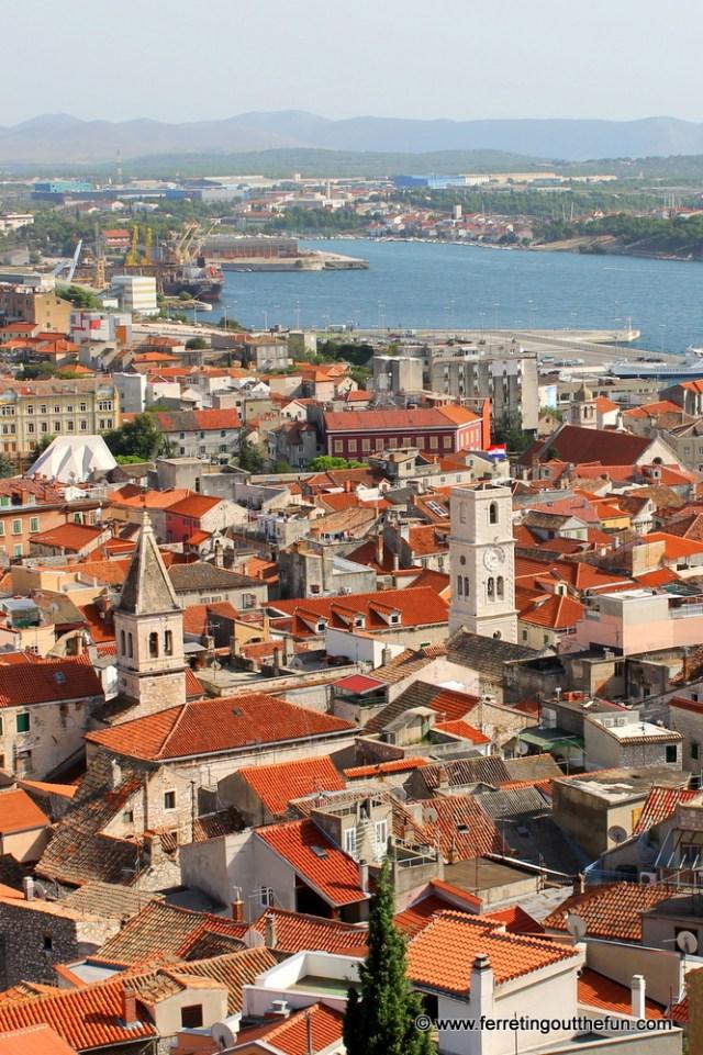 A jumble of red rooftops in Sibenik, Croatia