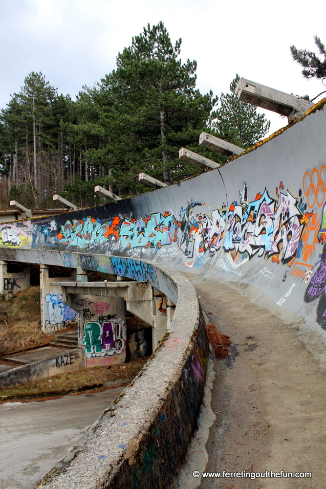 The bobsled track of the 1984 Sarajevo Winter Olympics, destroyed by the Bosnian War and covered in graffiti