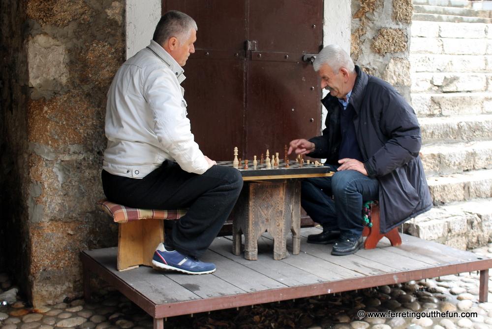 Bosnian men playing chess