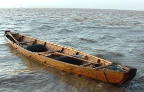 Reproducción a escala de uno de los botes excavados en North Ferriby