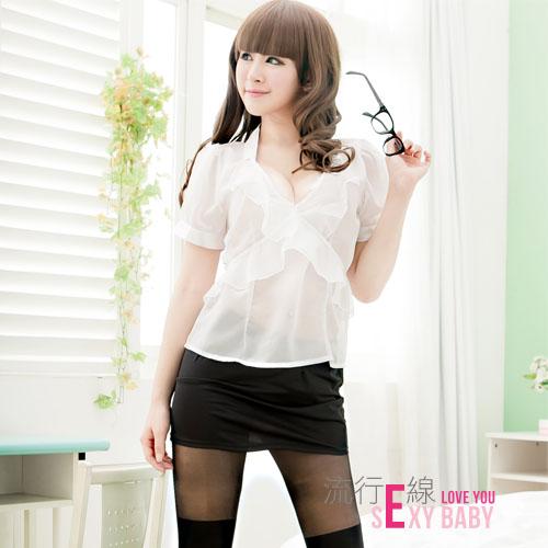 流行E線~性感無限:角色扮演性感OL女秘書~透明襯衫短裙制服趴A124