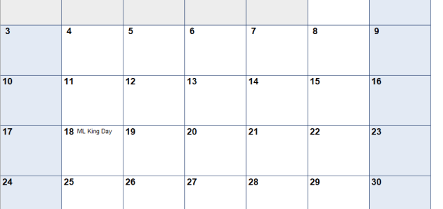 January 2021 Calendar Excell Printable