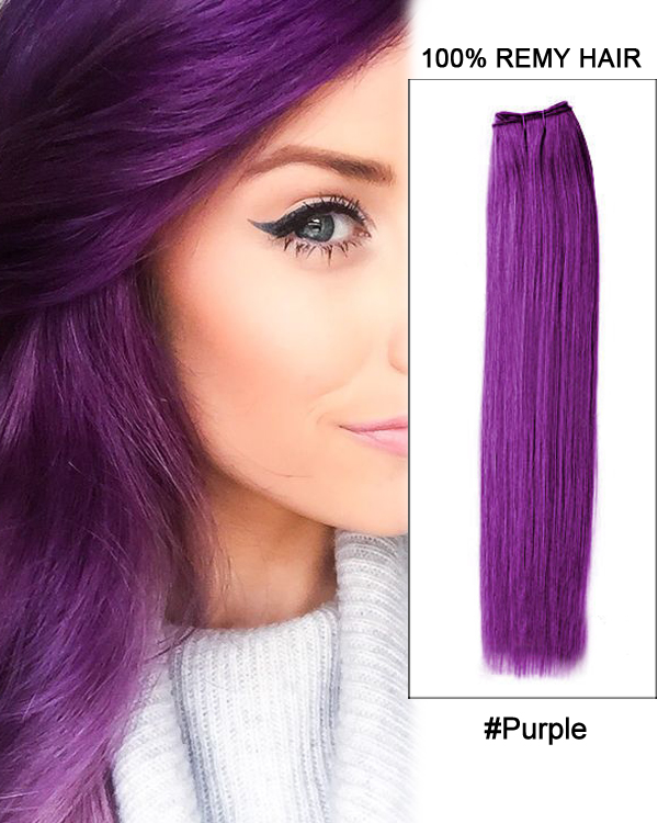 22 Purple Straight Weave Remy Hair Weft Human Hair