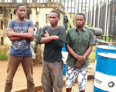 Three suspected vandals have been arrested for engaging in oil bunkering