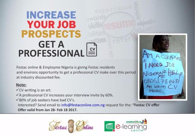 Get a professional CV courtesy of Festaconline & Employme Nigeria. (2)