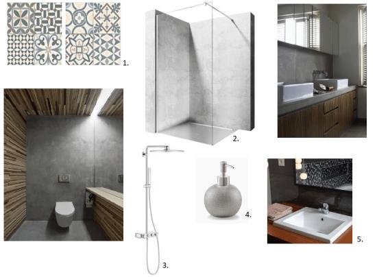 mikrocement w łazience - moodboard
