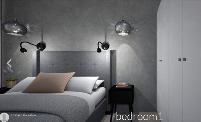 Beton we wnętrzach - mikrocement w sypialni - wizualizacja