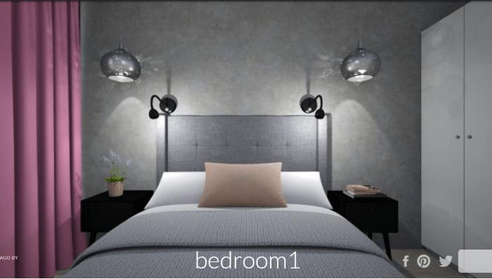 mikrocement w sypialni - wizualizacja