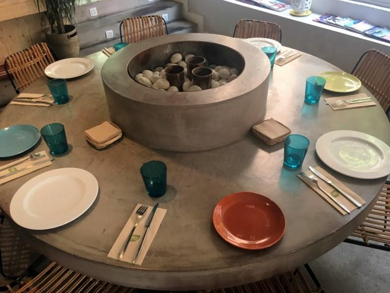 betonowy blat w restauracji